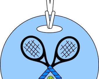 Tennis Name bag Tag Round Personalized Custom Name Tennis Bag Tag