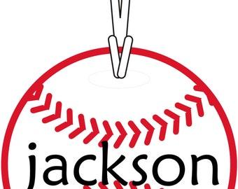 Personalized Custom Name Baseball Softball Round Bag Tag