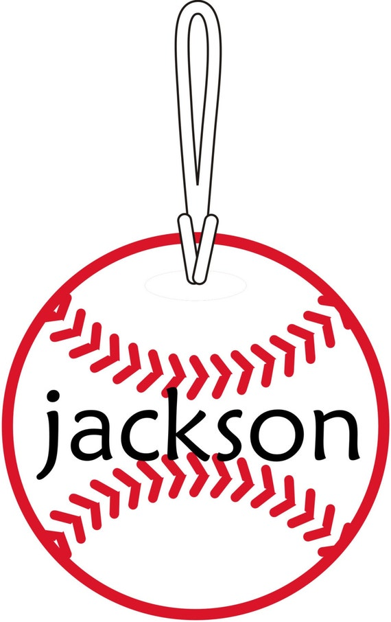 Personalized Custom Name Baseball Softball Round Bag Tag