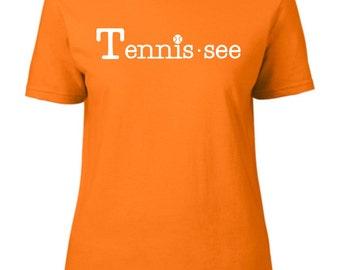 Tennis.see® Tennis Tennessee Tennis.see Tshirt Tee Shirt Womens Orange Tennissee