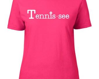 Tennis.see® Tennis Tennessee Tennis.see Tshirt Tee Shirt Women Ladies Hot Pink Tennissee