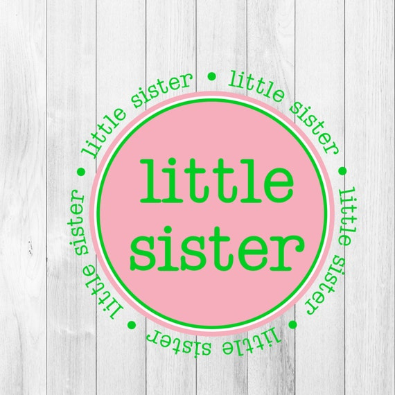 INSTANT DOWNLOAD Little Sister Pink Green Printable DIY Iron On to Onesie Tee Tshirt Shirt T-Shirt Transfer Printable Art Gift