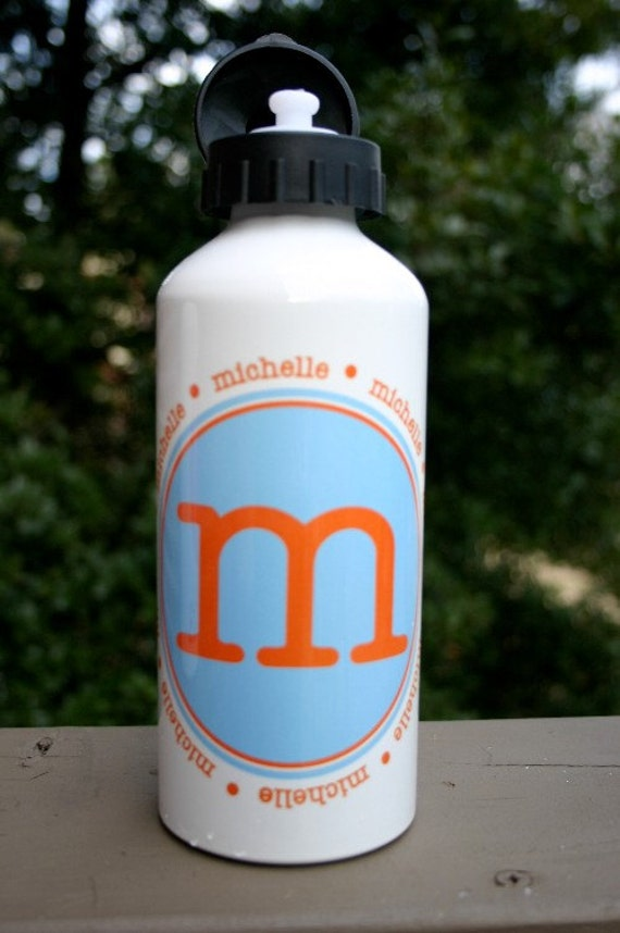 Personalized  Aluminum Water Bottle Custom Name Initial or Birthday Number Drink Cup