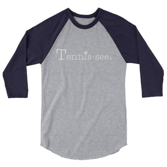 Tennis.see® Unisex Tennessee Tennis shirt tee tshirt 3/4 sleeve raglan shirt Tennissee
