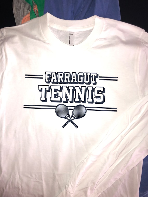 Clearance Farragut Tennis White Long Sleeve T-shirt - Unisex size Small only