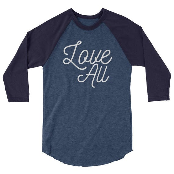 Love All Tennis Tshirt Tee Shirt 3/4 sleeve raglan shirt Luna B. Tee