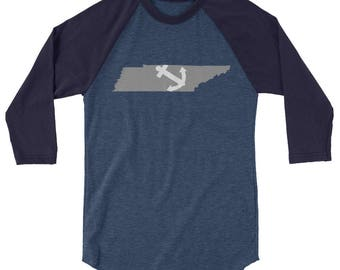 Farragut Tennessee State Tshirt Anchor Farragut Highs school 3/4 sleeve raglan shirt