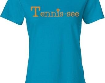 Tennis.see® Tennis Tennessee Tennis.see Tshirt Tee Shirt Womens Aqua Teal Caribbean Blue Tennissee