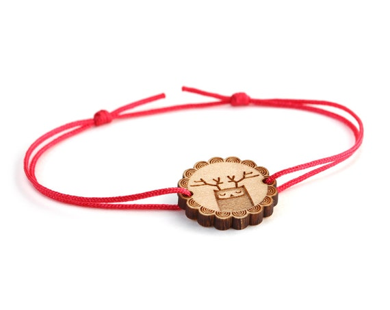 Reindeer bracelet - 25 colors - cute animal bangle - adjustable bracelet - lasercut maple wood - graphic jewelry - unisex - customizable