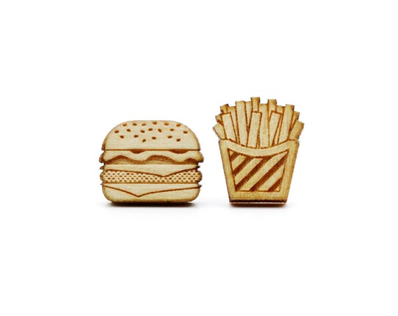 Burger and fries studs - tiny fast food earrings - mini jewelry - graphic food - lasercut maple wood - hypoallergenic surgical steel posts