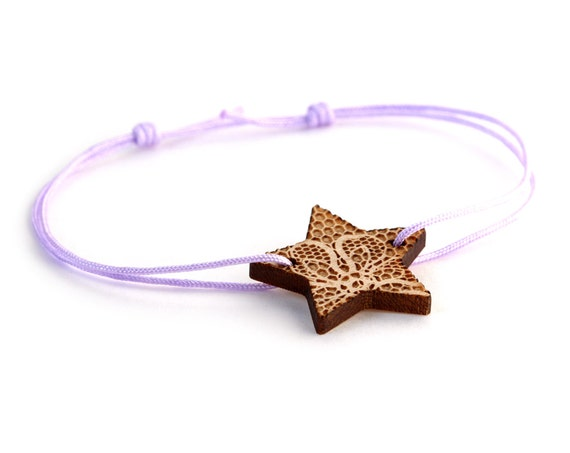 Star bracelet with lace pattern - 25 colors - wedding bangle - adjustable bracelet - lasercut maple wood - bride jewelry - customizable