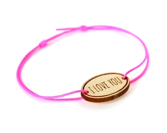 "Oval bracelet with message ""I love you"" - Valentine's bangle - wedding jewelry - 25 colors - adjustable bracelet - lasercut maple wood"