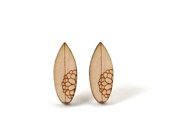 Surfboard studs - surf earrings - beach sports nautic jewelry - mini summer jewellery - lasercut wood - hypoallergenic surgical steel posts
