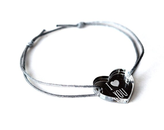 "Heart bracelet with message ""I love you"" - Valentine's bangle - wedding jewelry - 25 colors - adjustable bracelet - lasercut acrylic mirror"