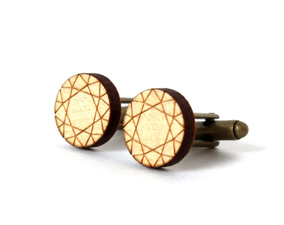 Diamond cufflinks - fake diamonds cuff links - wedding accessory for men - lasercut maple wood - accessory for men - for the groom