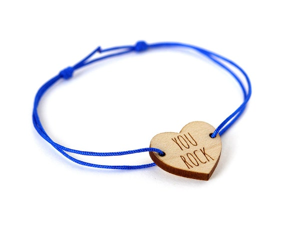 "Heart bracelet with message ""You rock"" - Valentine's bangle - wedding jewelry - 25 colors - adjustable bracelet - lasercut maple wood"