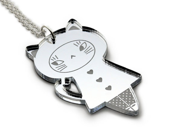 Doll necklace Cat - acrylic silver mirror - kawaii doll pendant - cute kitten jewelry - graphic lasercut perspex - laser cut plexiglas