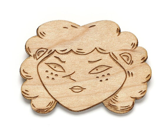 Angry witch brooch - woman portrait pin in lasercut maple wood - feminist jewelry - girl power - single widow child-free