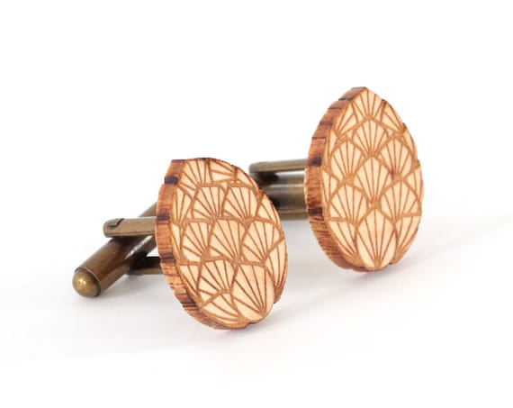 Dragon egg cufflinks made of lasercut maple wood - mythological accessory for the groom - wedding fantastic jewelry for fantasy lover