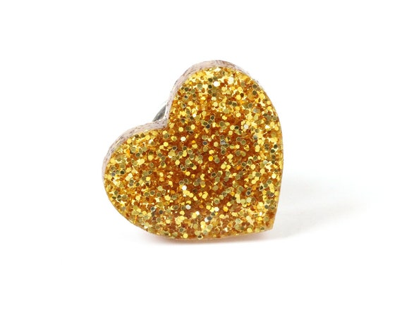 Golden glitter heart pin made of lasercut acrylic - different colors - graphic brooch - not another enamel pin - bold gift for unicorn lover