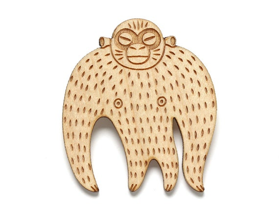 Monkey brooch made with lasercut wood - gorilla pin - orangutan jewelry - chimpanzee accessory - chimp gift - marmoset - jungle fauna