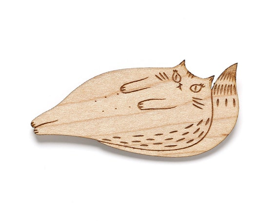 Yoko Cat brooch in lasercut wood - fat tomcat pin - gourmet and lazy kitten - praise of laziness - lovely kitty - beloved pet friend