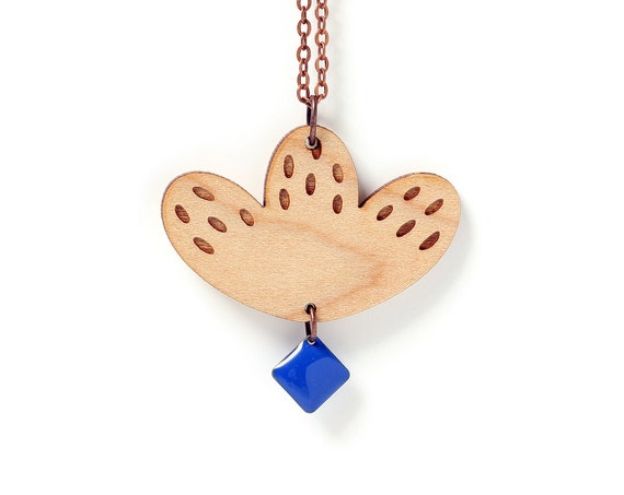 Graphic flower pendant in lasercut wood with cobalt sequin - 9 different colors - wooden floral necklace - fall jewelry designer gift