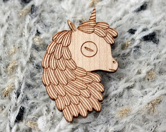 Unicorn brooch made of laser cut wood - fantasy animal jewelry - magic fauna pin - fairy tale horse - witchcraft accessory