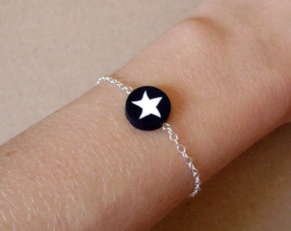 Star bracelet made in metal and polymer clay - last piece of a limited edition - starry jewelry - black and white jewellery