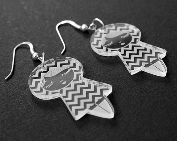 Chevron doll earrings - cute matriochka jewelry - kawaii kokeshi jewellery - sterling silver findings - lasercut clear acrylic - graphic