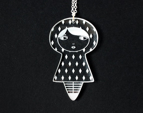 Doll necklace - diamond pattern - graphic kokeshi pendant - cute matriochka jewelry - russian doll jewellery - lasercut clear acrylic