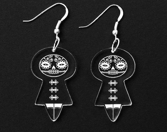 Catrina earrings - Mexican doll earrings - Calavera jewelry - Santa Muerte - sterling silver findings - lasercut clear acrylic - Halloween