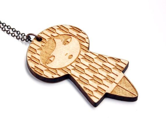 Doll necklace with yagasuri pattern - Japanese wooden doll pendant - matriochka jewelry - kokeshi - graphic - lasercut maple wood - arrows