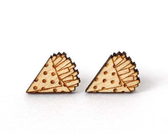 Wooden stud earrings French fries kitsch food jewelry - graphic lasercut wood - nickel free hypoallergenic surgical steel posts