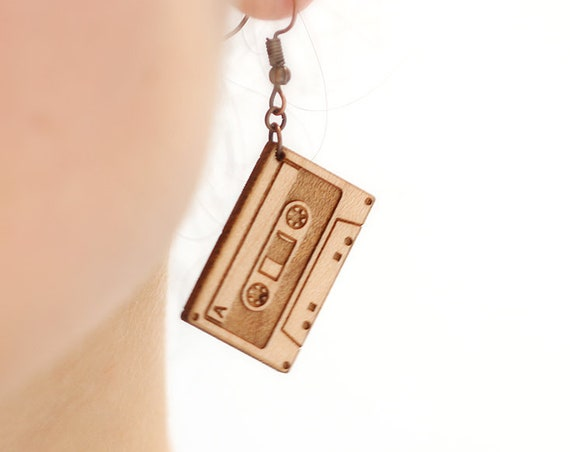 Audio tape dangle earrings in lasercut maple wood - music lover retro jewelry - musician accessory - gift for singer - rock - jazz - hip hop