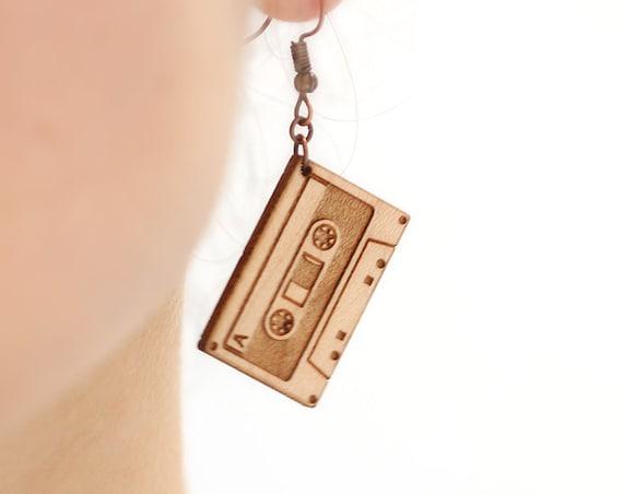 Audio tape dangle earrings in lasercut maple wood - music lover retro jewelry - musician accessory - gift for singer - rock - jazz - hip hop