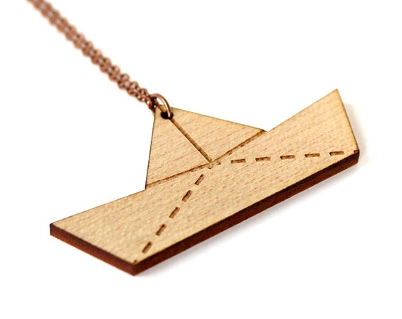 Wooden paper boat necklace - origami ship pendant made in lasercut wood - graphic jewelry - nautical accessory - gift for a little sailor