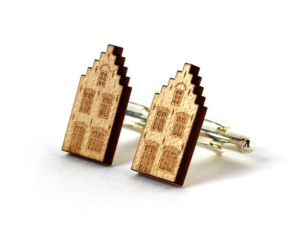 Dutch house cufflinks - architecture wedding gift - dad father man grandfather groom bestman godfather gift - lasercut maple wood