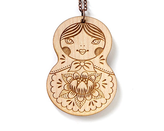 Wooden doll necklace - Matryoshka pendant - Russian doll necklace - cute wooden jewelry - illustrated - kawaii - lasercut wood