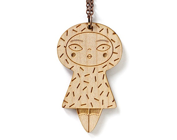 Wooden doll necklacel with confetti pattern - pendant - cute jewelry - illustrated - kawaii doll - lasercut wood