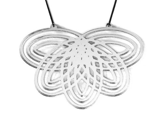 Necklace Mutation 07 - flower - silver mirror  - statement jewellery - contemporary jewelry - graphic designer accessory - lasercut acrylic