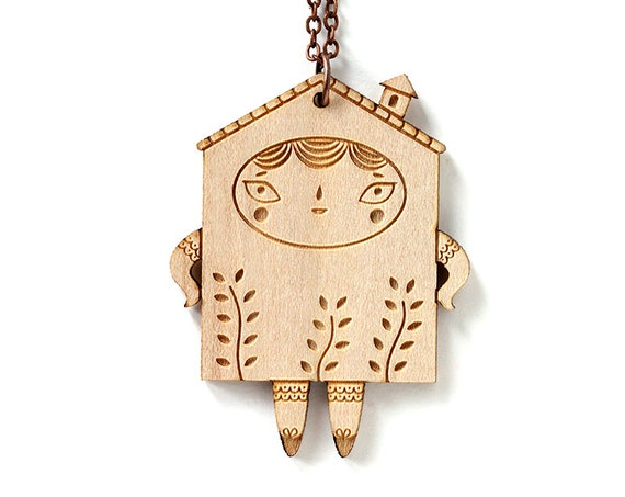 Wooden doll necklace - House pendant - tiny character with plants - cute wooden jewelry - kawaii jewellery - lasercut wood - lasercutting
