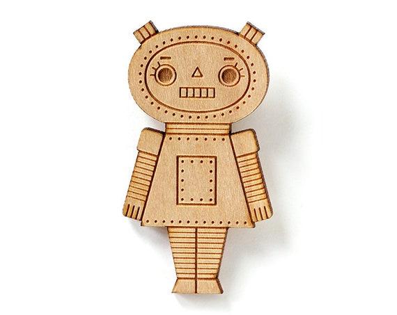 Wooden doll brooch - Robot girl pin - lasercut wood - geek pin - retro robot - cute kawaii wooden jewelry - geek jewellery - lasercutting