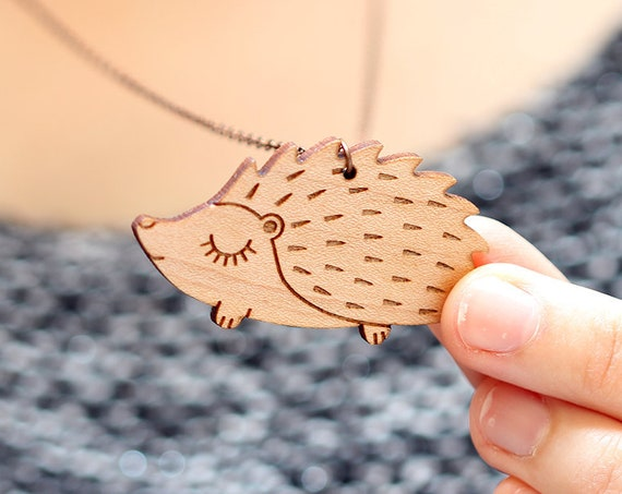 Hedgehog pendant made of lasercut wood - cute porcupine wooden necklace - animal jewelry - kawaii accessory - lasercutting - friendship gift