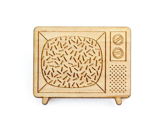 Television brooch - tv set pin - retro geek jewelry - vintage jewellery - lasercut maple wood - graphic accessory - kitsch