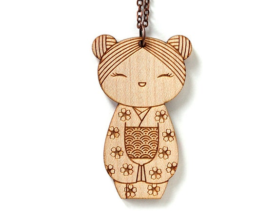 Wooden doll necklace - Kokeshi pendant - Japanese doll - cute wooden jewelry - illustrated - kawaii - lasercut wood - seikaiha - sakura