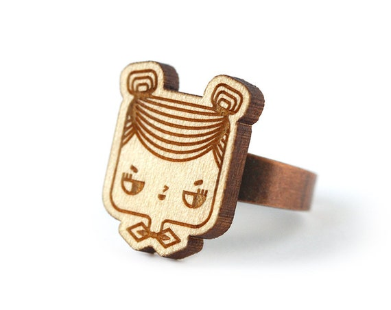 Judith ring - cute girl ring with hair buns and bowtie - geek jewelry - lasercut maple wood - kawaii jewellery - bachelorette gift