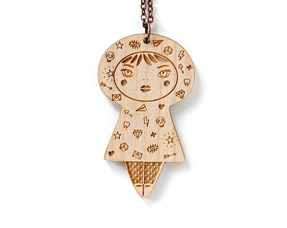 Wooden doll necklace - Tattoo girl pendant - gift for tattooed girl - cute jewelry - illustrated - kawaii doll - lasercut wood