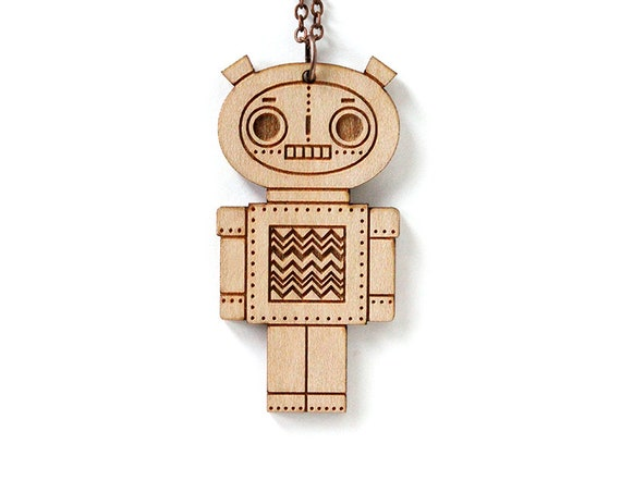 Robot pendant - boy - cute doll necklace - cute wooden jewelry - geek jewellery - lasercut wood - lasercutting