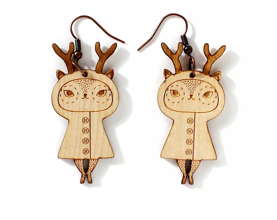 Wooden doll earrings with deer character - lasercut maple wood - reindeer earrings - doe jewelry - fawn forest animal